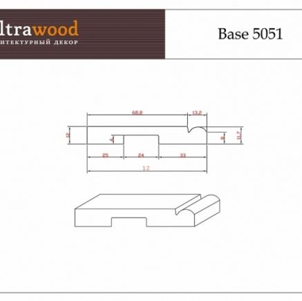 Плинтус напольный под покраску  Ultrawood Base 5051 клей в подарок