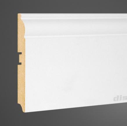 Плинтус МДФ высокий белый L-decor 104-116 клей в подарок