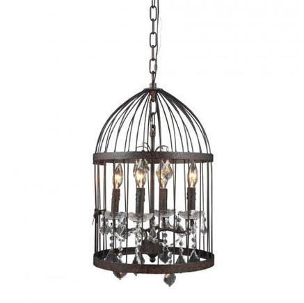 Светильник потолочный SMALL BIRDCAGE CRYSTAL CHANDELIER Gramercy Home CH008-4-ABG-CRS