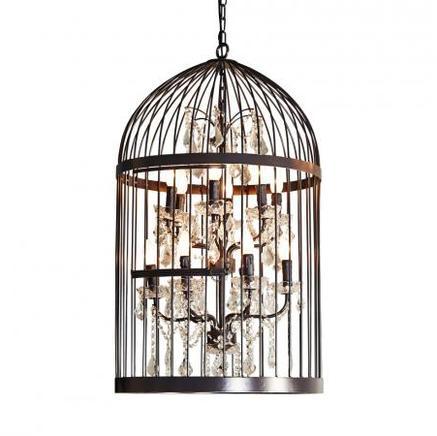 Светильник потолочный LARGE BIRDCAGE CRYSTAL CHANDELIER Gramercy Home CH008-12-ABG-CRS