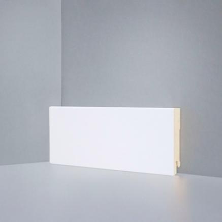 Плинтус МДФ напольный белый SP-decor W06-80 клипсы/клей в подарок